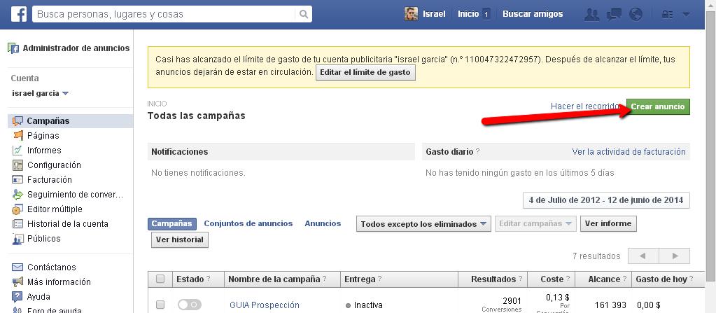 Configurando tu publicidad en facebook a través del panel de administracion