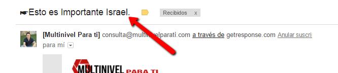 Línea de asunto de correo electrónico